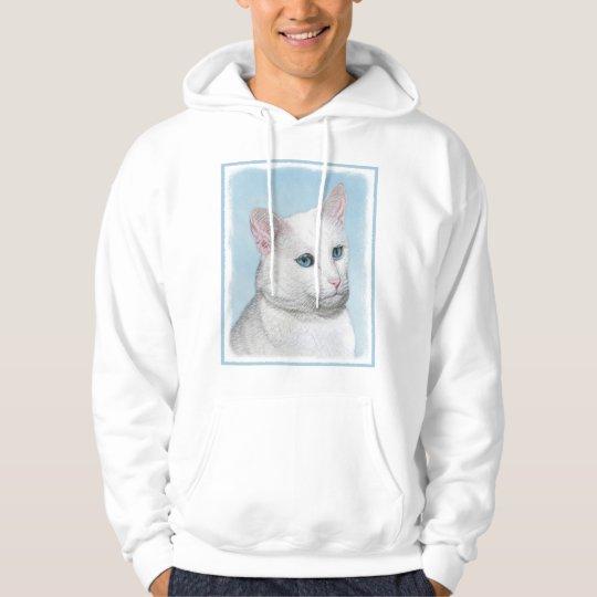White Cat Painting - Cute Original Cat Art Hoodie