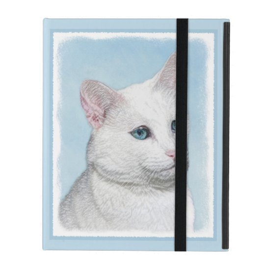 White Cat Painting - Cute Original Cat Art iPad Folio Case