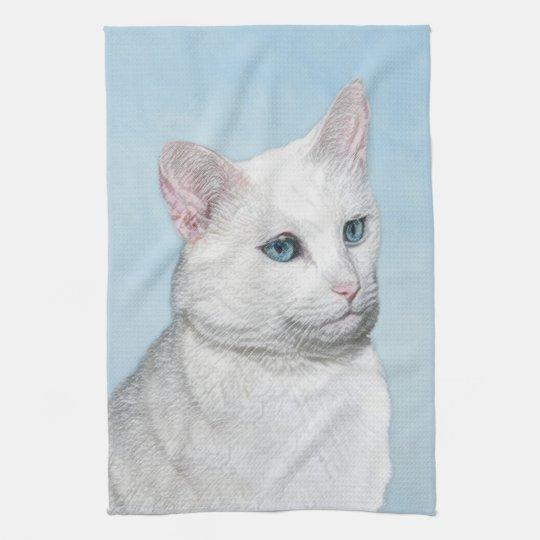 White Cat Painting - Cute Original Cat Art Kitchen Towel