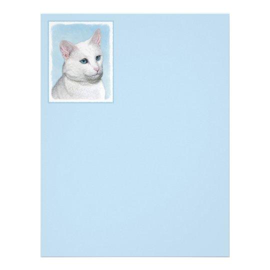 White Cat Painting - Cute Original Cat Art Letterhead