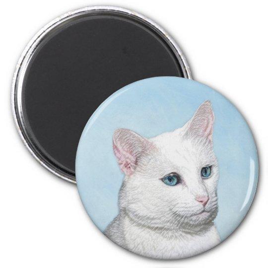 White Cat Painting - Cute Original Cat Art Magnet