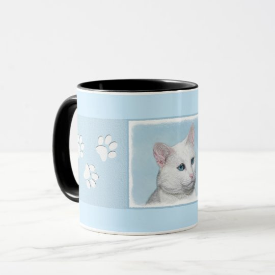 White Cat Painting - Cute Original Cat Art Mug