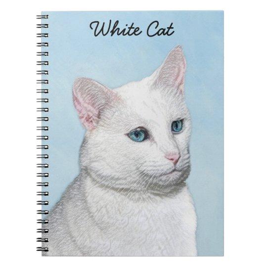 White Cat Painting - Cute Original Cat Art Notebook