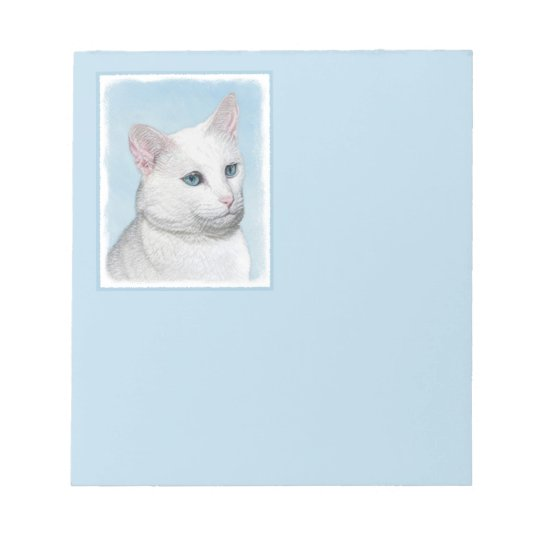 White Cat Painting - Cute Original Cat Art Notepad
