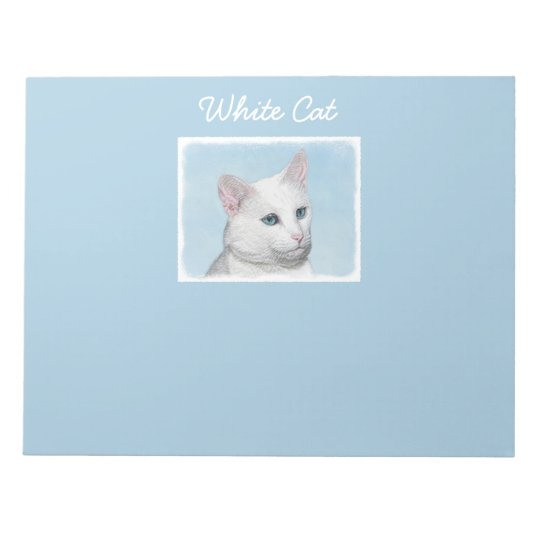 White Cat Painting - Cute Original Cat Art Notepad