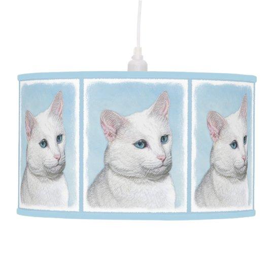 White Cat Painting - Cute Original Cat Art Pendant Lamp
