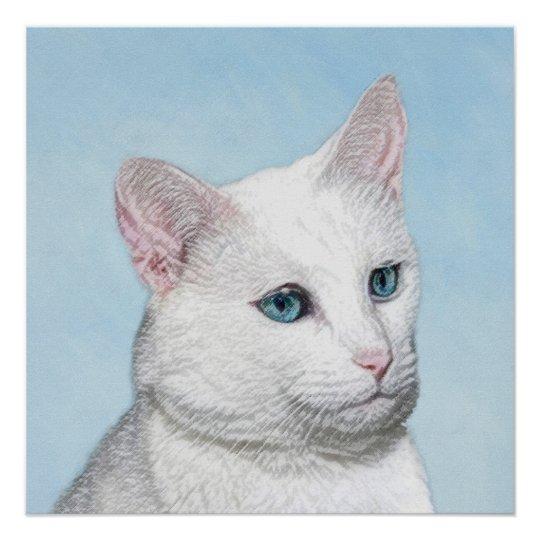 White Cat Painting - Cute Original Cat Art Poster