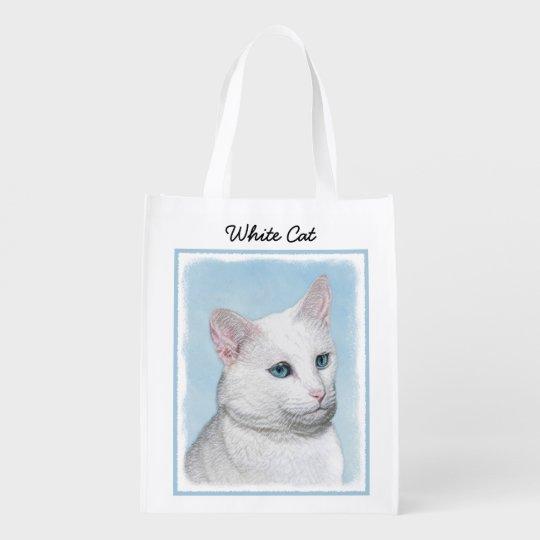 White Cat Painting - Cute Original Cat Art Reusable Grocery Bag
