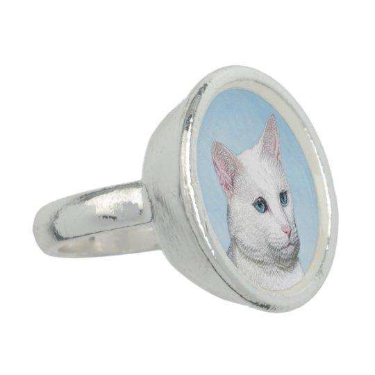 White Cat Painting - Cute Original Cat Art Ring