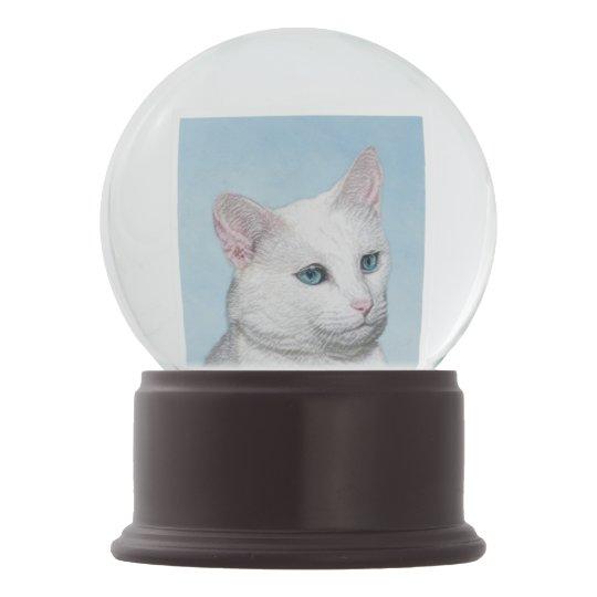 White Cat Painting - Cute Original Cat Art Snow Globe
