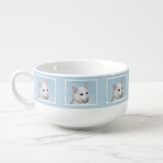 White Cat Painting - Cute Original Cat Art Soup Mug