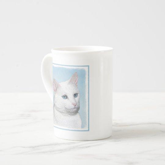 White Cat Painting - Cute Original Cat Art Tea Cup