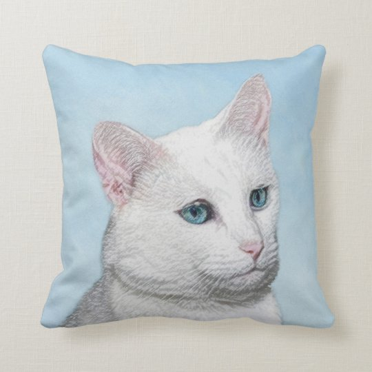 White Cat Painting - Cute Original Cat Art Throw Pillow