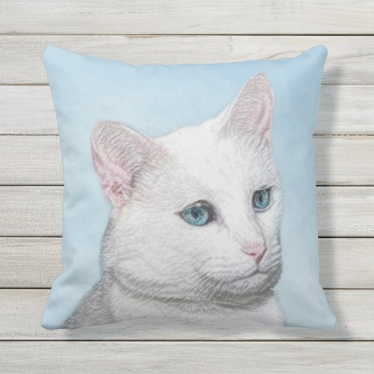 White Cat Painting - Cute Original Cat Art Throw Pillow