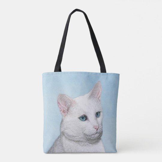 White Cat Painting - Cute Original Cat Art Tote Bag