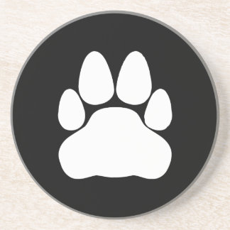 White Cat Paw Print Shape Coaster