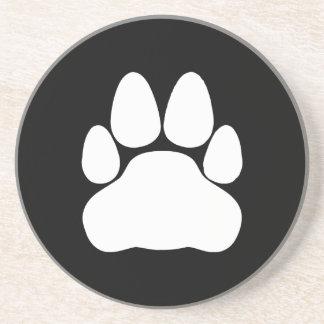 White Cat Paw Print Shape Coaster