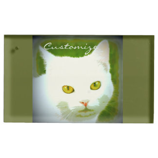 white cat place card holder