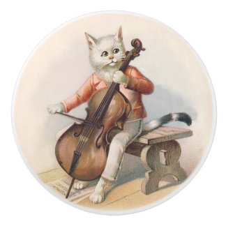 White Cat Playing Cello Decorative Knob