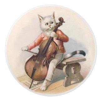 White Cat Playing Cello Decorative Knob Ceramic Knob