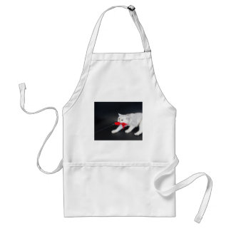 White cat playing pulling red toy standard apron