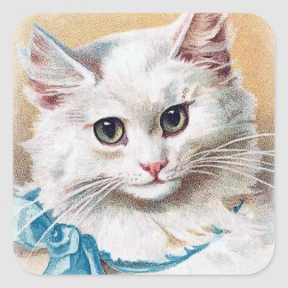 White Cat Portrait Square Sticker