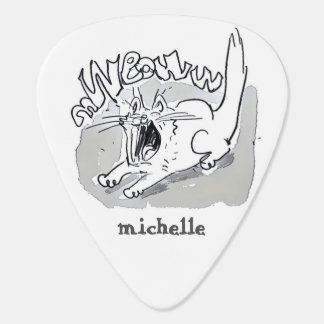 white cat screaming cartoon guitar pick