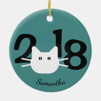White Cat Silhouette 2018 Ornament