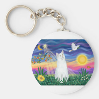 White Cat - Twilight Basic Round Button Keychain