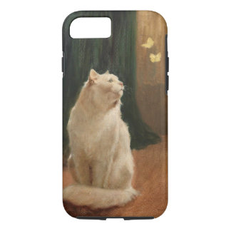 White Cat with Butterflies iPhone 7 Case