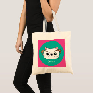 White Cat with Glasses Tote Bag