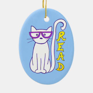 White Cat with Purple Glasses with Read Sign Ceramic Ornament