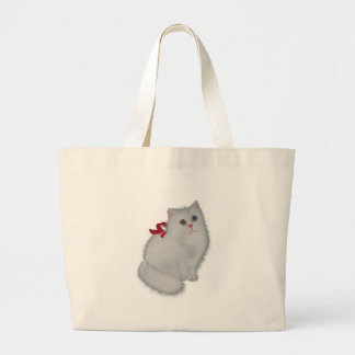 White Cat with Red Ribbon Jumbo Tote Bag