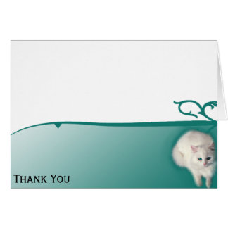 White Cat with Turquoise Eyes Card