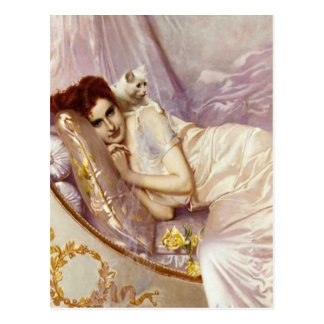 white cat woman lady white purple silk bed postcard