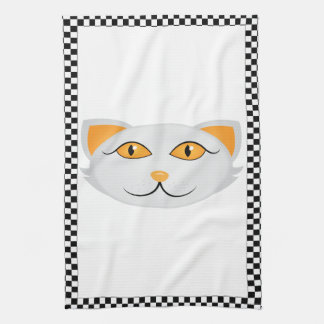 White Cat's Face w/ Checkered Border Personalized Kitchen Towel