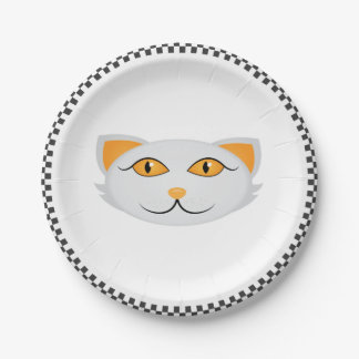 White Cat's Face w/ Checkered Border Personalized Paper Plate