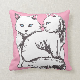 White Cats Illustration Pink Pillow