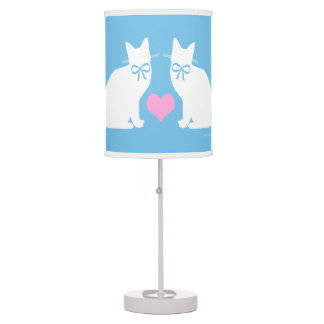 """White Cats On Blue"" Table Lamp"