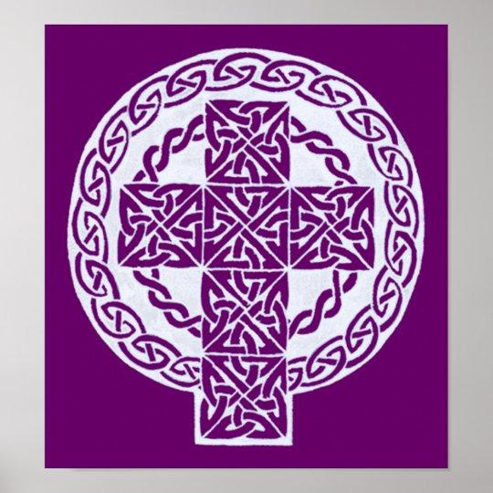 White Celtic Cross print