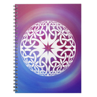 White Celtic knot circle Notebook