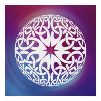 White Celtic knot circle  Poster