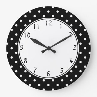 White center circle Small White Polka dots black b Large Clock