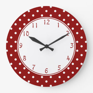 White center Small White Polka dots red background Large Clock