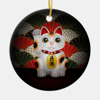 White Ceramic Maneki Neko Ceramic Ornament