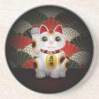 White Ceramic Maneki Neko Coaster
