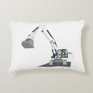 white chain excavator decorative pillow