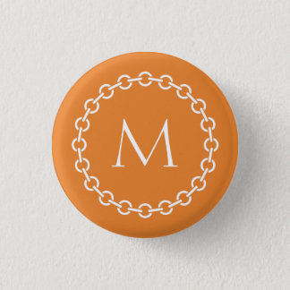White Chain Link Ring Circle Monogram 1 Inch Round Button