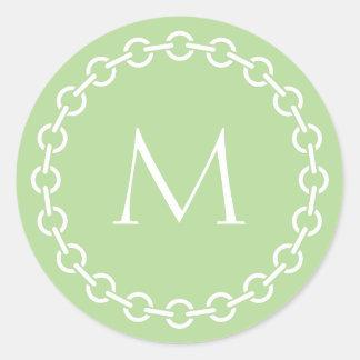 White Chain Link Ring Circle Monogram Classic Round Sticker