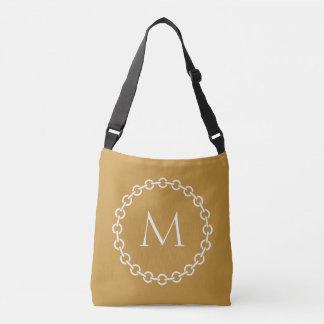White Chain Link Ring Circle Monogram Crossbody Bag